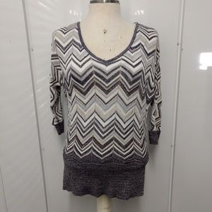 WHBM Metallic Sweater SZ Medium 3/4 Sleeve